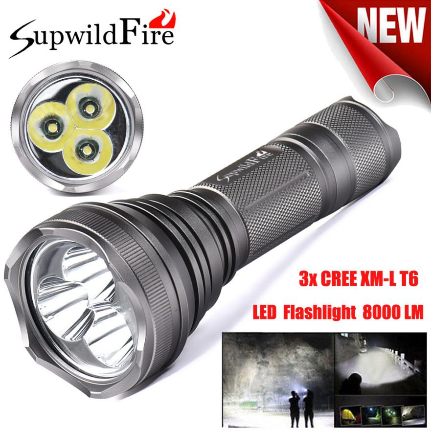 цены JA 6 Shining Hot Selling Fast Shipping SupwildFire 8000Lm 3x XM-L T6 LED 5-Mode 18650 Flashlight Torch Light Lamp