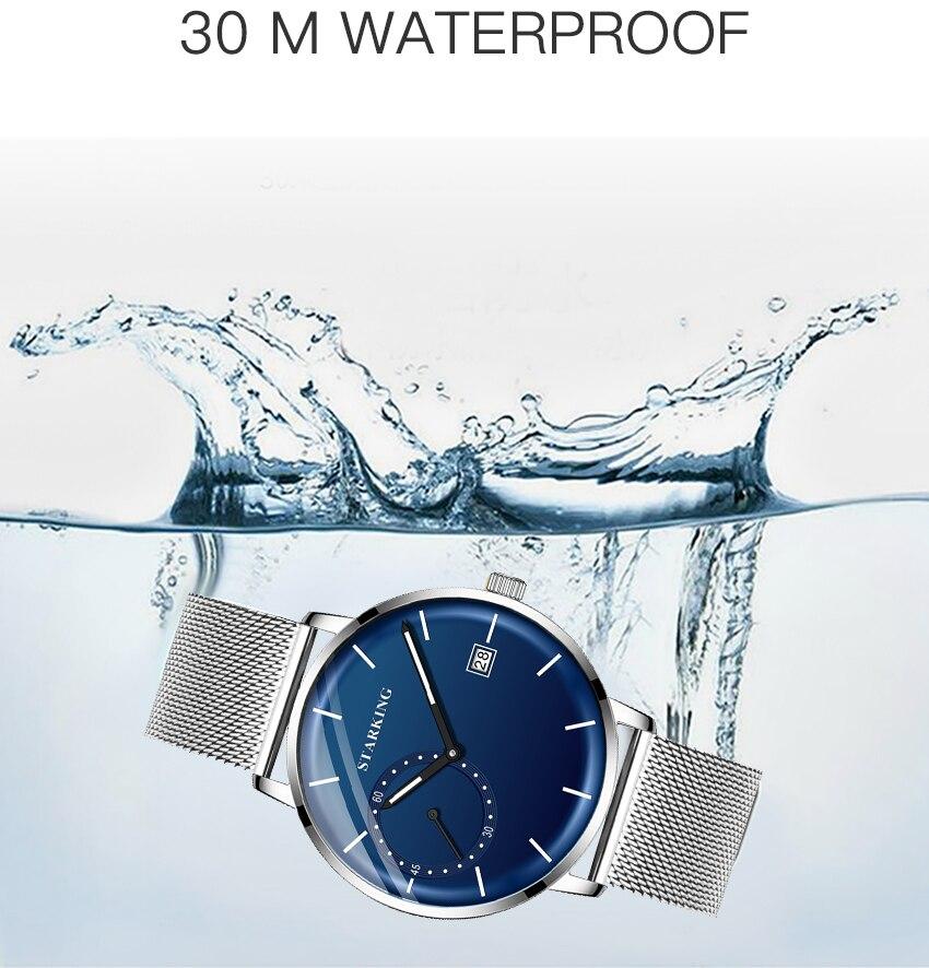 HTB1GLIad8GE3KVjSZFhq6AkaFXaT STARKING Dress Men Watch Steel Mesh Band Quartz Analog Wristwatch 3ATM Waterproof Curved Glass Blue Male Clock Relogio Masculino