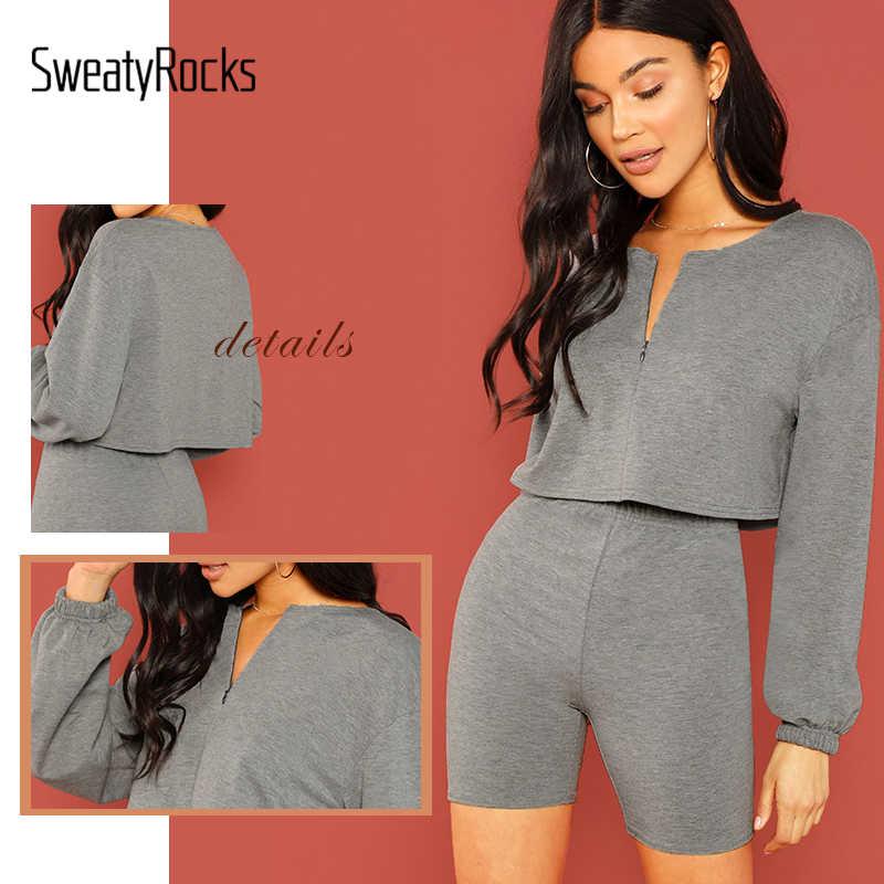 9906c3e554cb ... SweatyRocks V Cut Neck Crop Top and Leggings Shorts Set Streetwear Grey Clothes  2019 Spring Women ...
