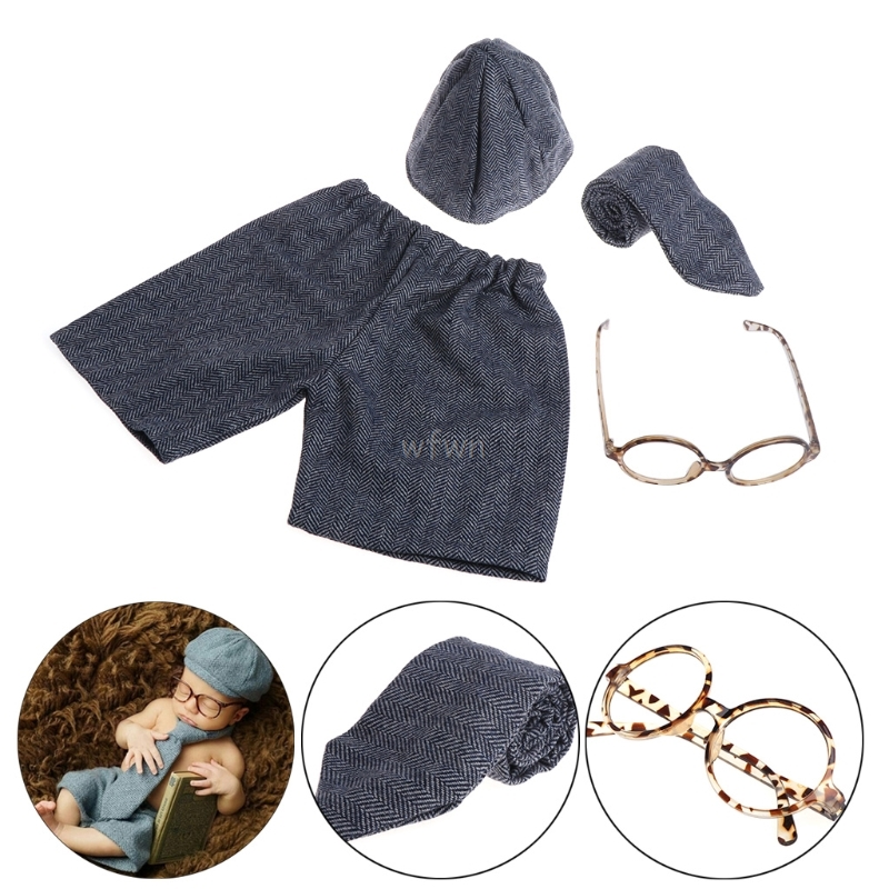 4pcs Newborn Photography Props Baby Boy Gentleman Set Costume Clothing Studio Shoot MAY10 dropship