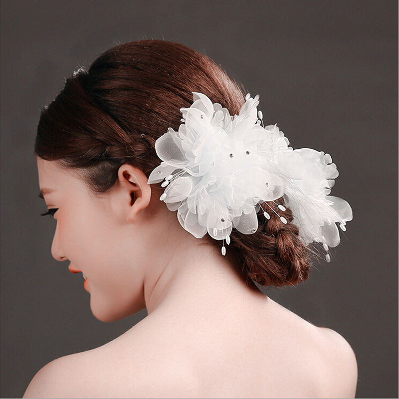 2  pcs Large white chiffon bride head flower hair clips, wedding party dress headdress 00009 red gold bride wedding hair tiaras ancient chinese empress hair piece
