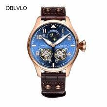 OBLVLO Pilot Watches for Men Blue Dial Rose Gold Pi