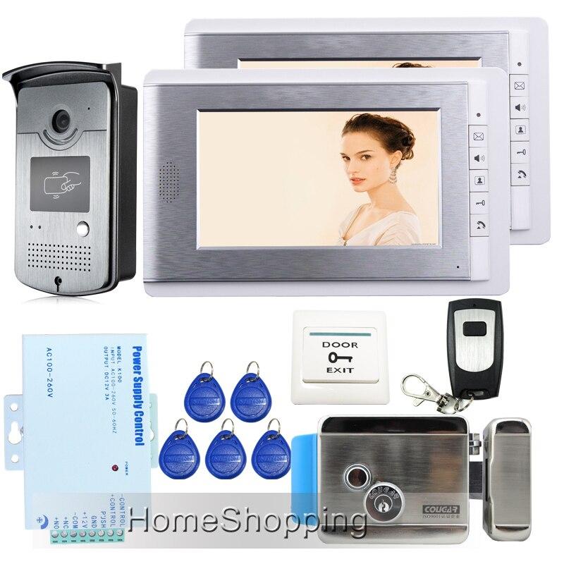 Free Shipping 7 Video Door Phone Intercom System 2 Monitors + RFID Access Night vision Doorbell Camera + Electric Control Lock