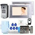 """Frete Grátis New Home 7 """"Sistema de Telefone Video Da Porta Interfone 2 Monitores TFT + Câmera + Elétrica Fechadura Da Porta de Controle Da Porta de Acesso RFID"""