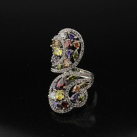 Colorful Leaves Plated Platinum Ring Austrian Cubic Zirconia Rings Women Luxury Exaggerate Wedding Ring Party Engagement
