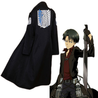 Anime Attack On Titan Cosplay Cloak Coat Levi Ackerman Cosplay Costume Halloween Party Levi Black Cloak Coat