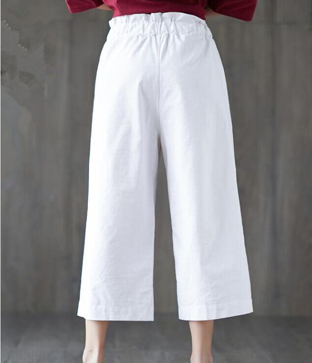2019 summer new cotton seven points   wide     leg     pants   thin section loose casual   pants   women