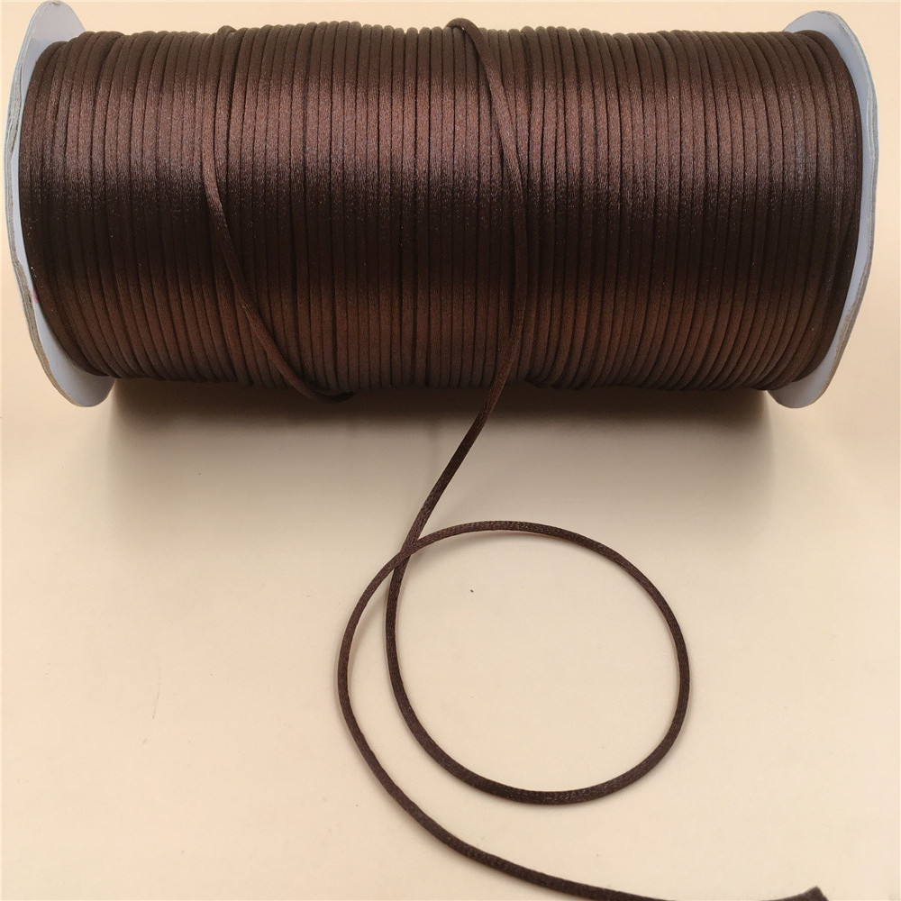 80m 2mm Waxed Cotton Cord Thread String Rope for DIY Craft Bracelet Necklace Jewelry Making Brown