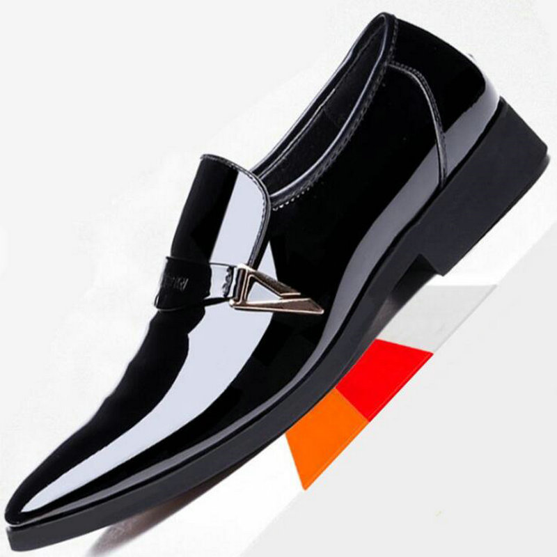 2018 Black White Men wedding Dress Business loafers Shoes Men Formal Shoes Pointed Toe Patent Leather Oxford big size 48 OO-77 bimuduiyu patent leather oxford shoes for men loafers dress shoes formal shoes pointed toe business fashion groom wedding shoes