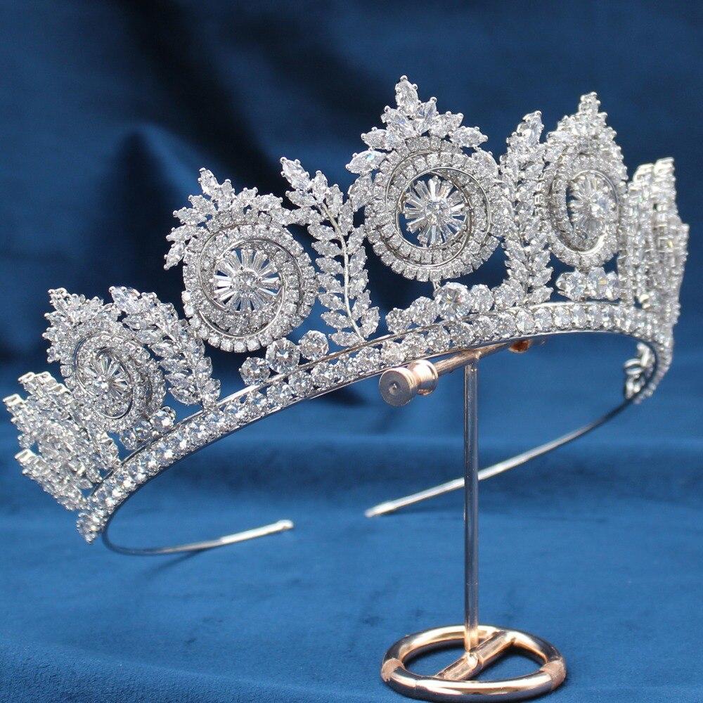 Parmalambe 2019 Silver Tiaras Zircon Clusters Lush Bridal Headpieces High Quality Crown Wedding Hair Accessories tiara de noiva