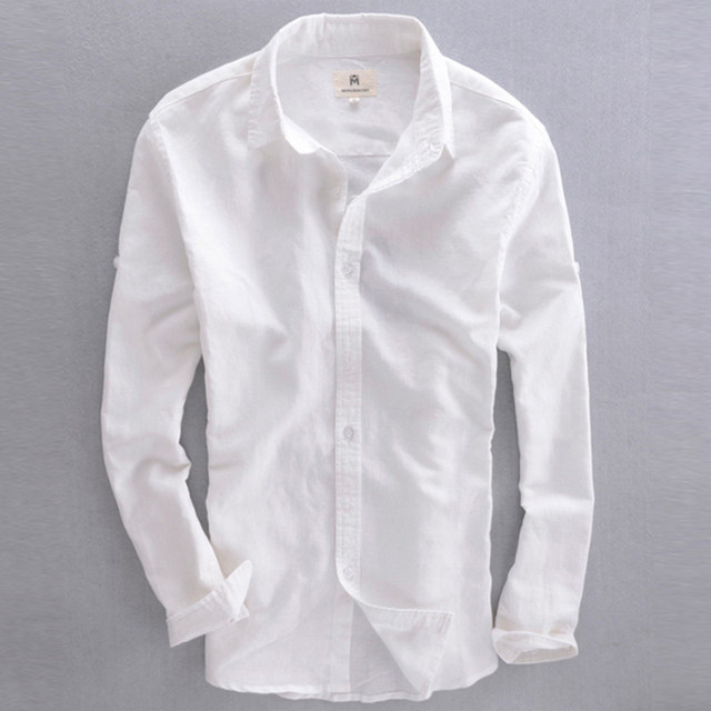68af59d4ce65 slim fit men s linen shirt long sleeves straight collar summer casual shirts  men white cotton linen