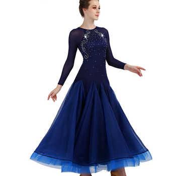 Long sleeve ballroom dance competition dresses customized waltz standard ballroom dress woman girls ballroom dance dresses woman
