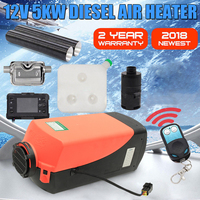 12V 5000W LCD Monitor Single Hole Air diesels Fuel Heater 5KW For Trucks Boats Bus With Remote Control and Exhaust Silencer