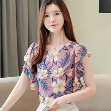 Fashion Women V Collar Summer Floral Temperament All-match Lotus Loose Casual Chiffon Shirts Blouses