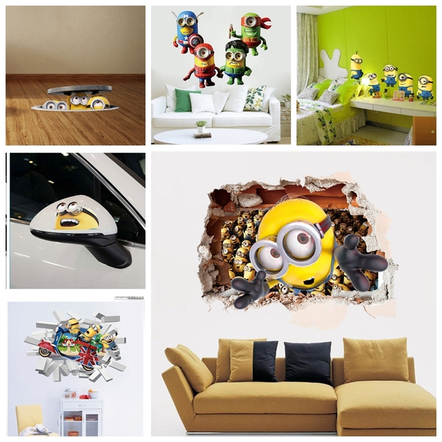 3D Sewer Minions Wall Stickers Cartoon DIY Removable Wall Decals For Kids  Room Girl Baby Bedroom Part 83