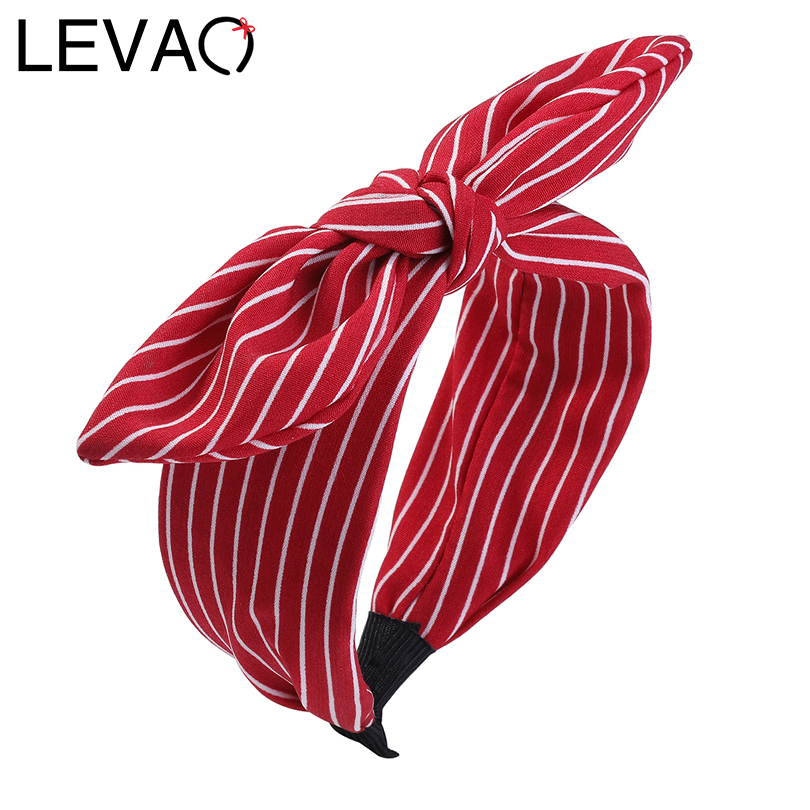 LEVAO Korean Striped Polka Dot Bunny Solid Knotted Ears Bezel Turban Hairband Women Girls Hair Accessories Headbands   Headwear