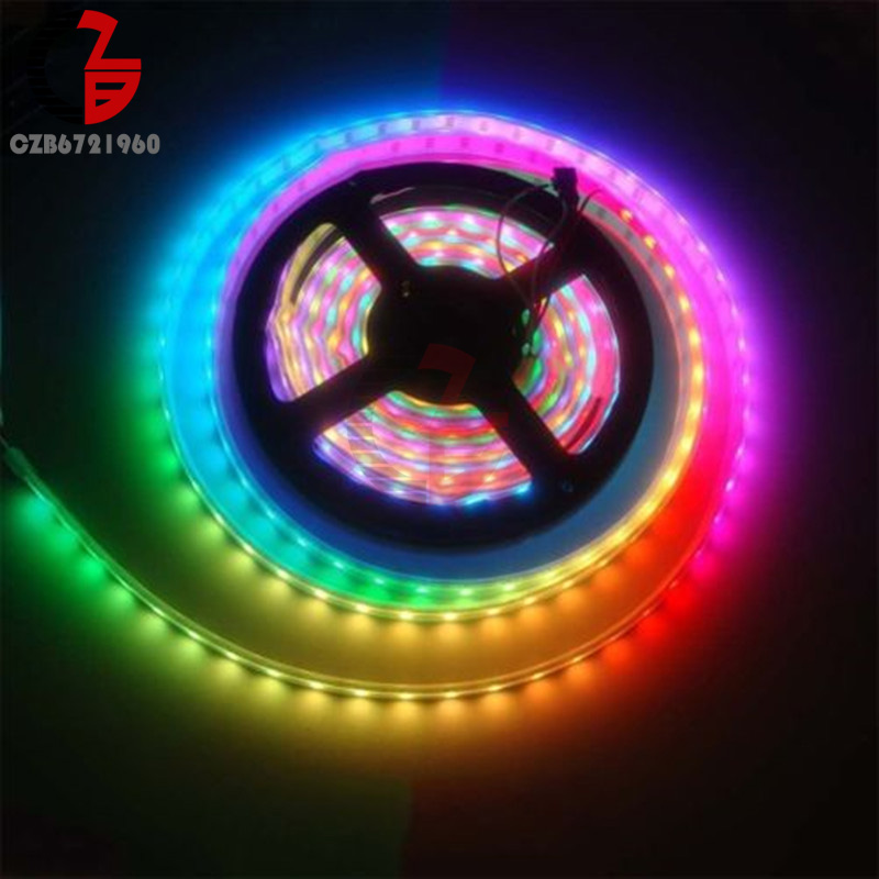 WS2812B RGB <font><b>LED</b></font> Strip Light <font><b>5V</b></font> <font><b>5050</b></font> Address Diode Tape Ribbon Ambilight Lighting for Garland TV Backlight Car Kitchen Aquarium image
