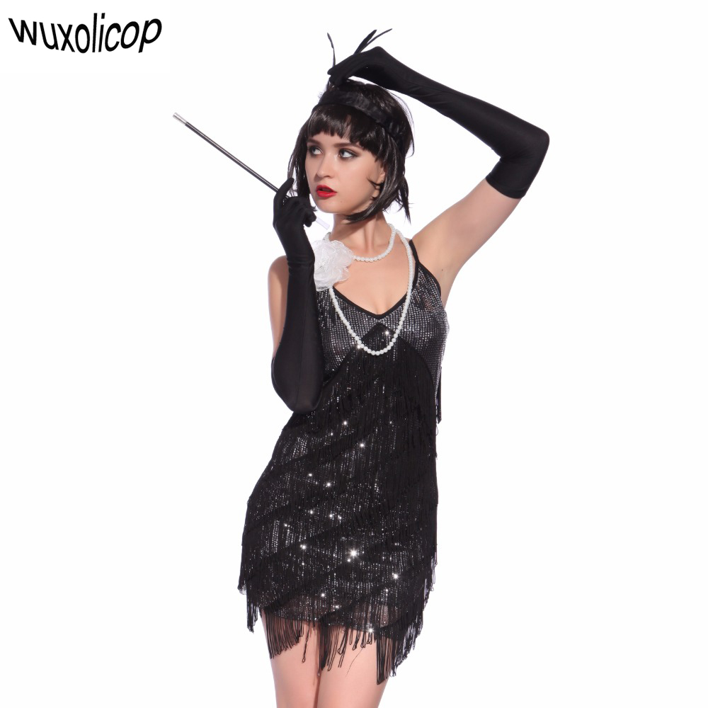 us $17.72 30% off|stunning stage dance costume tiered tassel v neck fringe  dress 1920s great gatsby dress flapper party sequin cami dress-in dresses