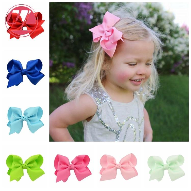 "6pcs Baby Girl Large Hair Bow Alligator Clip Boutique Grosgrain Ribbon 6/"" Lots"