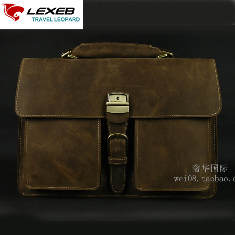 LEXEB Brand Vintage Classic Men's Briefcase Genuine Natural Leather Business Bags 15 Laptop High Quality Messenger Bag Brown lexeb brand lawyer briefcase vintage crazy horse leather men laptop bag 15 inches high quality office bags 42cm length brown
