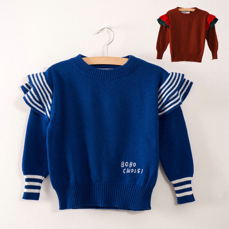 BBK Pre-sale! bobochoses 2017 New Autumn Girls Children's Sweaters cotton kids boys Knitted flyers sweater fashion Blue&red C*