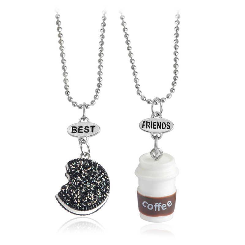 2 pçs/set Biscoitos Oreo & Café Em Miniatura Pingente Colar Para As Mulheres Homens BFF dos Melhores Amigos Presente de Aniversário Amizade Jóias Comida