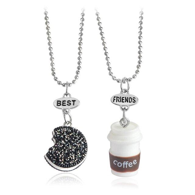 2pcs/set Miniature Oreo Biscuits & Coffee Pendant Necklace For Women Men Best Fr