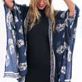 Retail 2016 Women Boho Fringe Floral Kimono Cardigan Tassels Beach Cover Up Cape Jacket