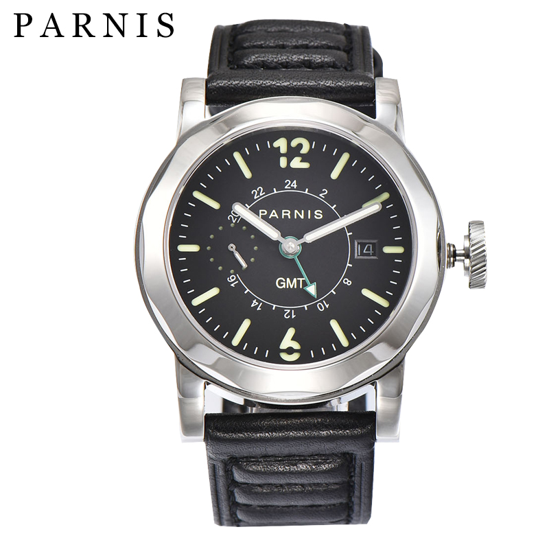 Parnis  44mm Men Watch Automatic Watch Black 12&24 Hour 10BAR Waterproof Luminous GMT Mechanical Watches Gife For MenParnis  44mm Men Watch Automatic Watch Black 12&24 Hour 10BAR Waterproof Luminous GMT Mechanical Watches Gife For Men
