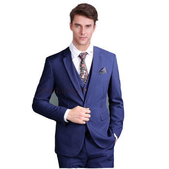 Custom Made New Style Blue Men's Formal Occasion Suits Wedding Tuxedos Grooms New Men Suits (Jacket+Vest+Pants) Y306