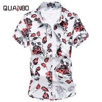QUANBO Men Shirt Plus Size 5XL 6XL 7XL Men S Casual Short Sleeve Flower Shirt Summer