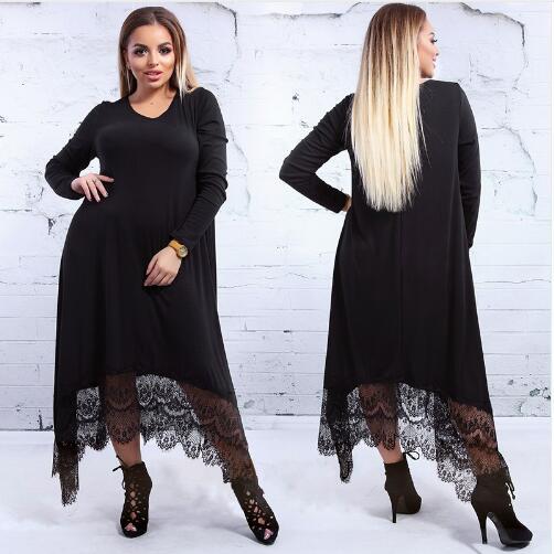5XL 6XL automne hiver lâche longue Robe Maxi grande taille robes en dentelle irrégulière grande taille Robe 2018 nouvelle décontracté femmes Robe