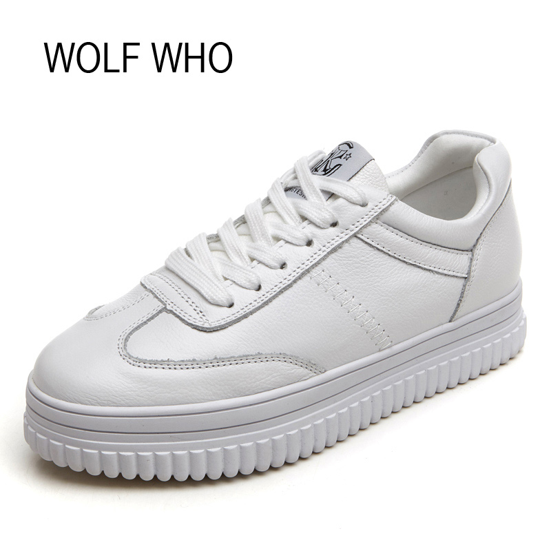 WOLF WHO Leather Hidden Heel Creeper Platform Sneaker Women Shoes White Ladies Female Fashion Tenis Feminino Casual H-131 shoes men leather 2017 ms casual shoes low help white black flat leisure fashion female superstar shoes tenis feminino mujer