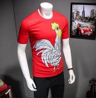 Short Sleeve T Shirt Chicken Men S Clothing Red Gift Pattern Print Short Sleeve Top Chick