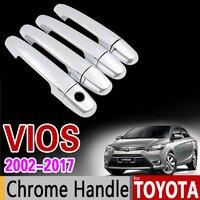 Toyota vios 2002-2017 크롬 핸들 커버 트림 xp40 xp90 xp150 soluna vios belta 2008 2012 2014 액세서리 자동차 스타일링