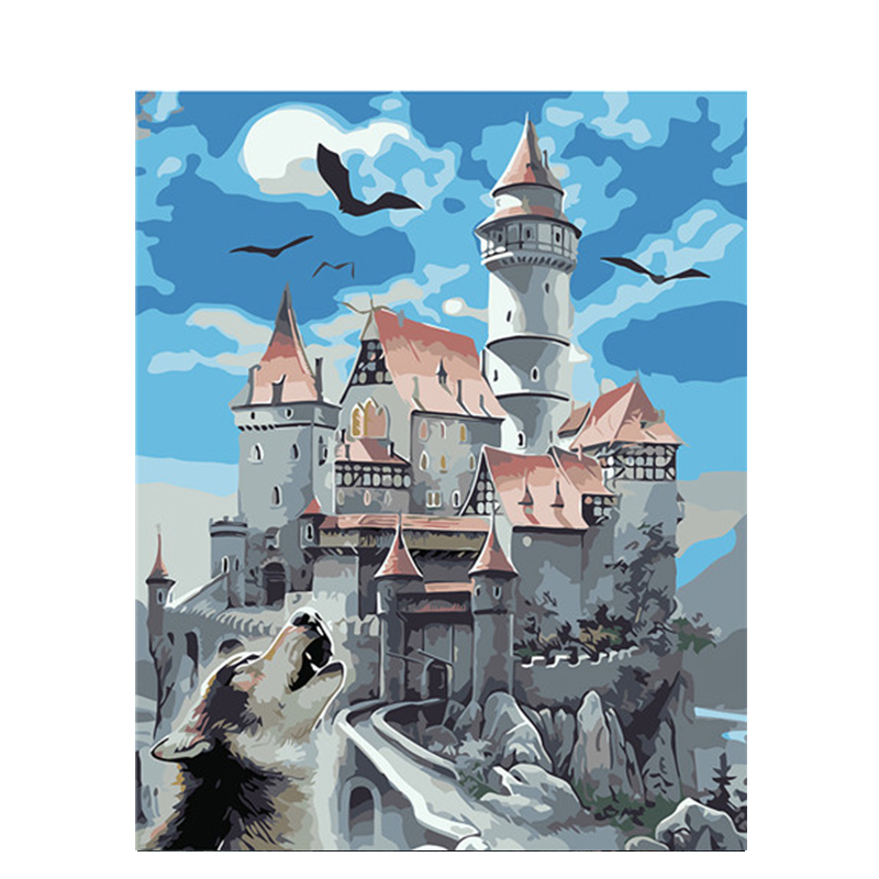 0329ZC907 Home wall furniture Decorations DIY number painting children Graffiti castle wolf painting by numbers 0329zc0401 home wall furniture decorations diy number painting children graffiti lonely snow wolf painting by numbers