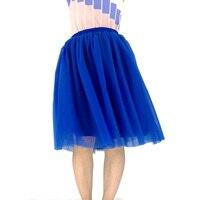 Custom Made Best Quality 7 Layers Midi Tulle Skirt Blue Tutu Skirts Womens Petticoat Elastic Belt