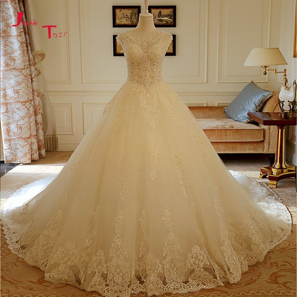 Jark Tozr реальная фотография сексуальная открытая спина Часовня Поезд Великолепные Свадебные платья Vestido De Noiva аппликации Полный бисер свадебное платье
