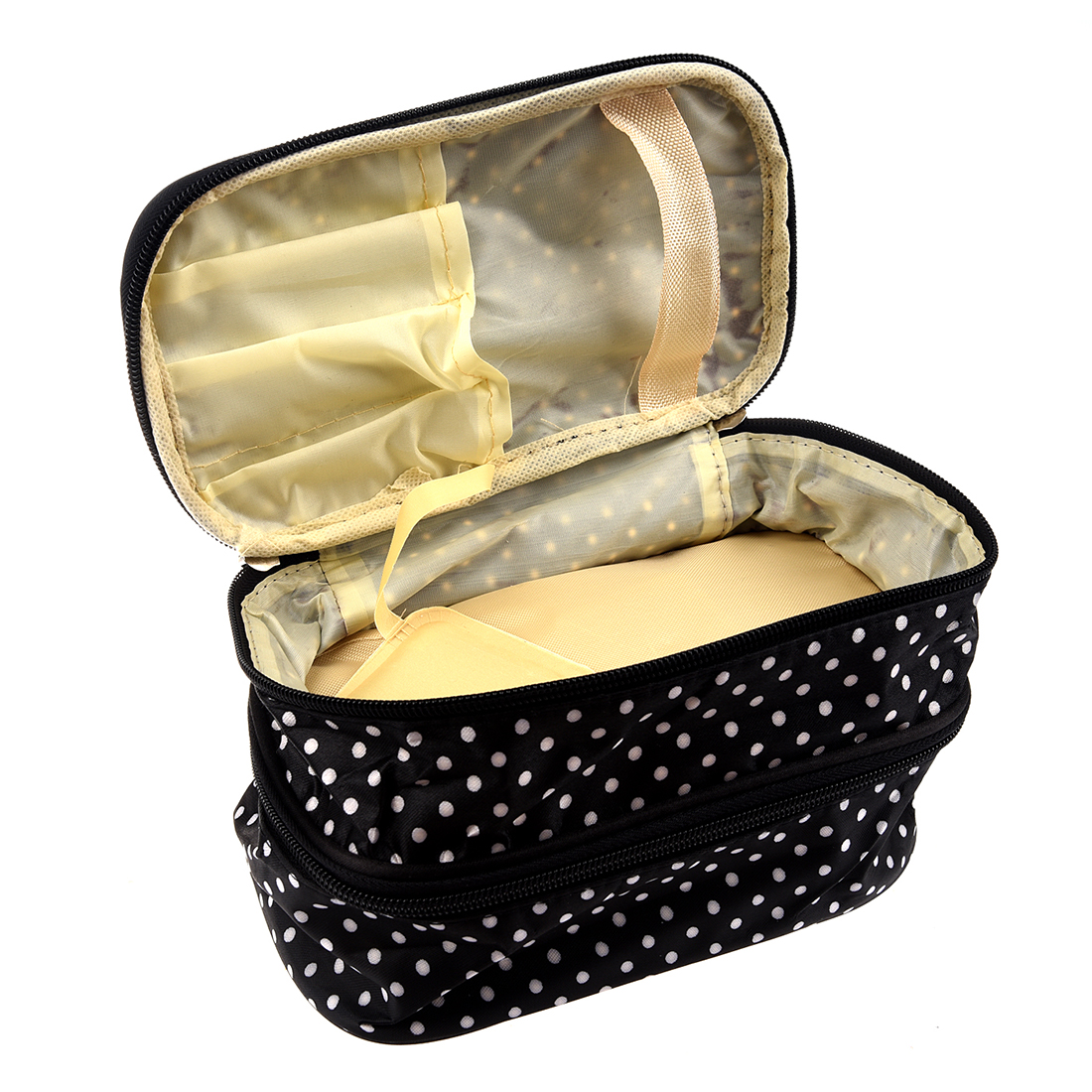 Hot Fashion Womens Fashion Dots Pattern Double Layer Makeup Bag(Beige) Beauty Bag Travel Underware Bag