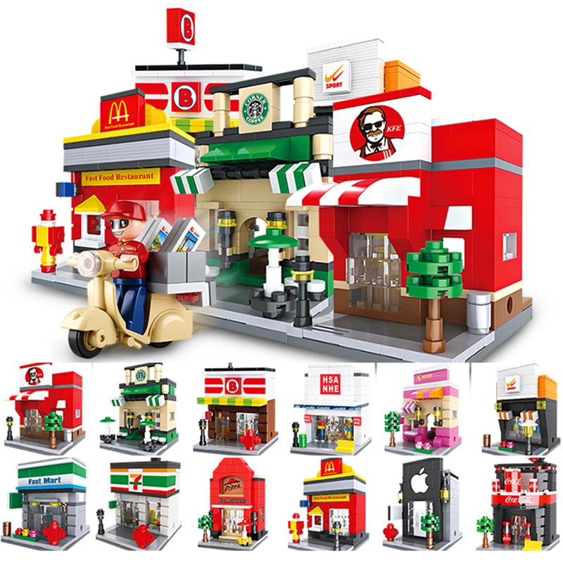 Mini Street View Food Theme Series Compatible LegoiNGs city Model building blocks girl DIY figures Bricks Educational Kids toys