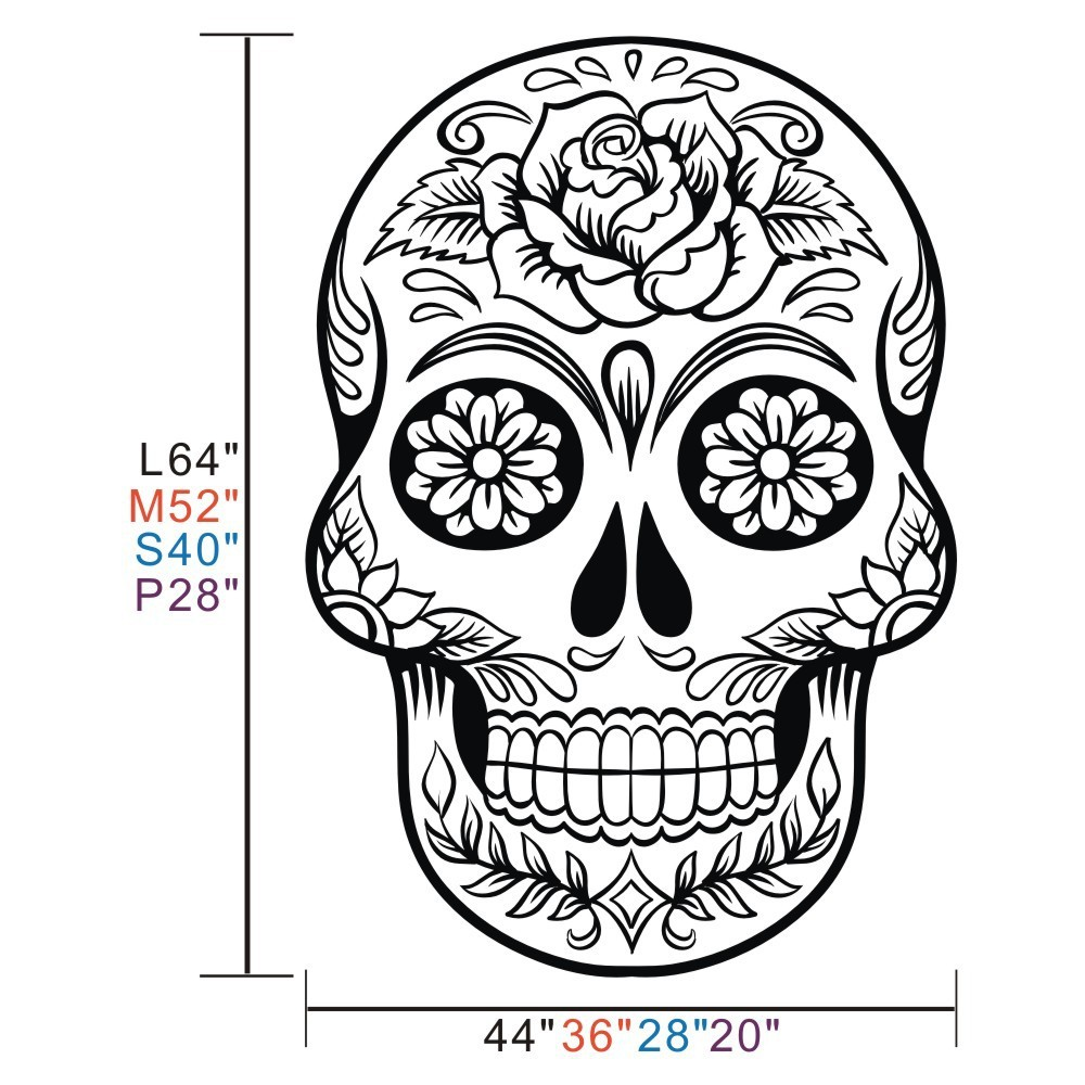 Sugar Skull mexico floral swirl office Wall art Vinyl Wall Sticker ...