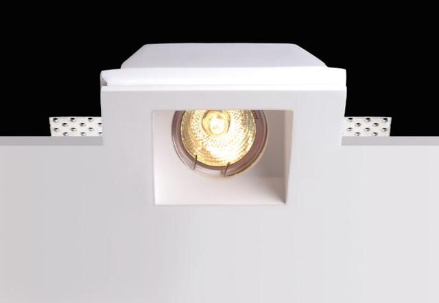 led recessed gypsum ceiling light plaster lamp pure white trimless