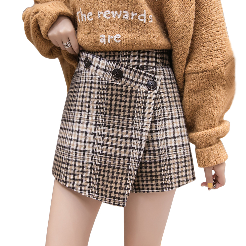 0614c8189cb Detail Feedback Questions about Winter fashion slim plaid woolen shorts  trousers high waist split irregular buttons shorts skirts 2018 chic harajuku  short ...