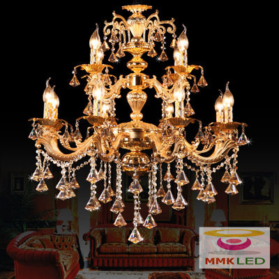 Européen haute qualité en alliage de zinc cristal bougie pendentif lampe salon restaurant chambre hôtel penthouse grande suspension lampe