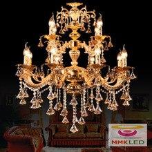 Европейский — класс цинкового сплава кристалл свеча подвесной гостиная ресторан спальня отель пентхаус большой подвеска лампа