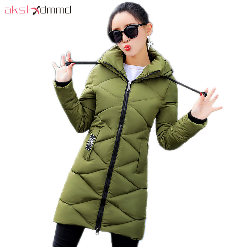 AKSLXDMMD Hooded Winter Jacet 2017 New Plus Size Solid Color Casual Mid-long Cotton Coat Women Overcoat Parkas Mujer LH1214 akslxdmmd casual women winter jacket 2017 new slim hooded cotton coat female plus size overcoat student parkas mujer lh1181