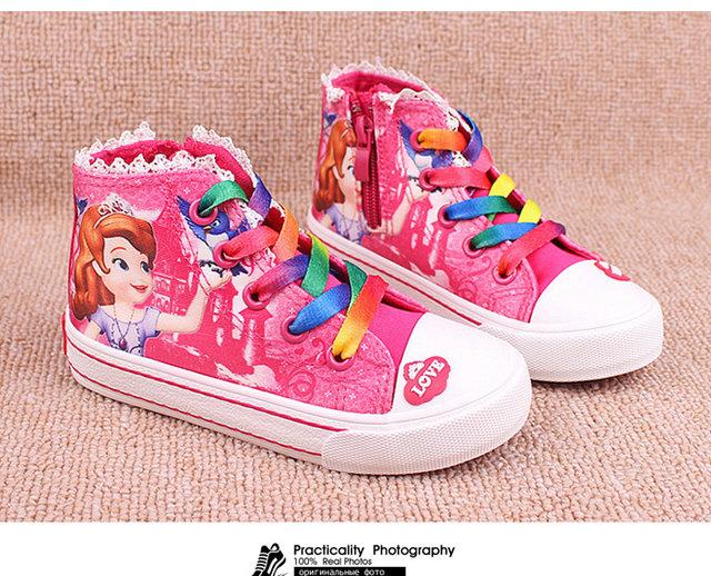 ... New Beauty Children s Shoes Girls 2017 Sofia Princess Cartoon Running  Sneakers Fashion Canvas Kids Flat Sneaker ... 02eb82368