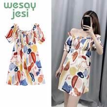 Dress Women Elegant Vintage floral printing Dress Stylish Sexy Slash Neck 2019 sweet Beach Summer Sundress vestidos