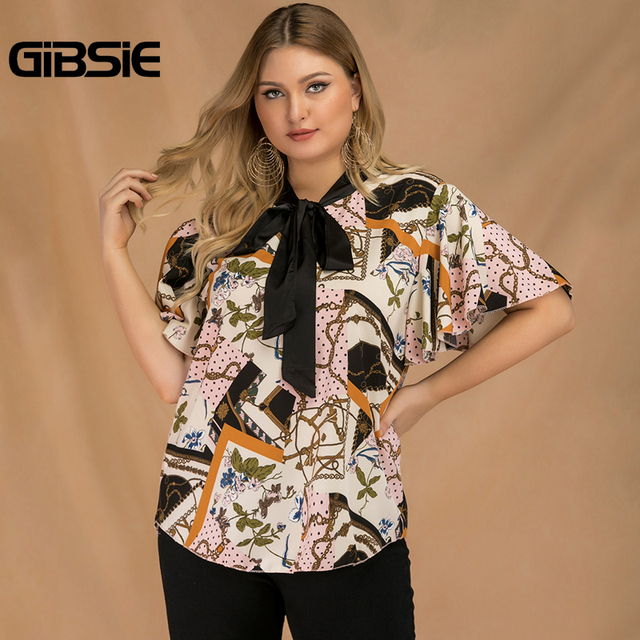 GIBSIE Plus Size Elegant Bow Tie Neck Butterfly Sleeve Blouse Women 2019 Summer Office Lady Casual Mixed Print Shirt Top Female