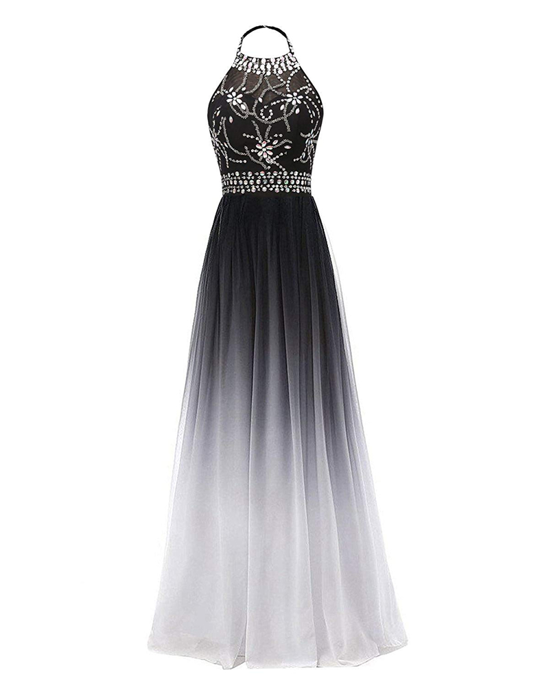 Bealegantom 2019 Halter Gradient Chiffon Long   Prom     Dresses   Ombre Beads Plus Size Evening Party Gowns Vestido Longo QA1558